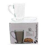 PASABAHCE Aqua Latte Mug & Saucer 330cc [95960] - Gelas